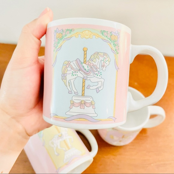 Carousel Horse Mug Pastel Colored Vintage Look